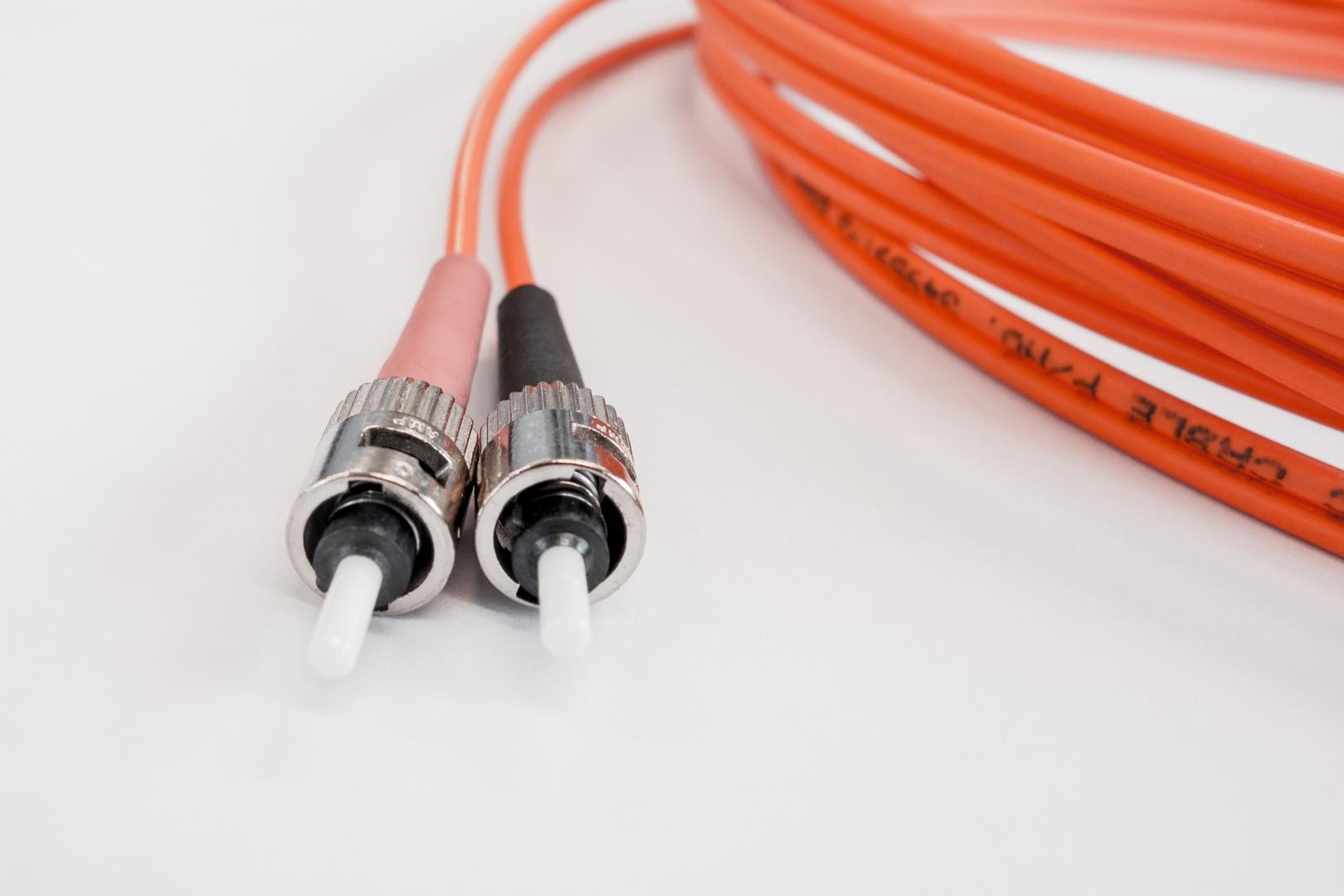 Orange fiber optic cable
