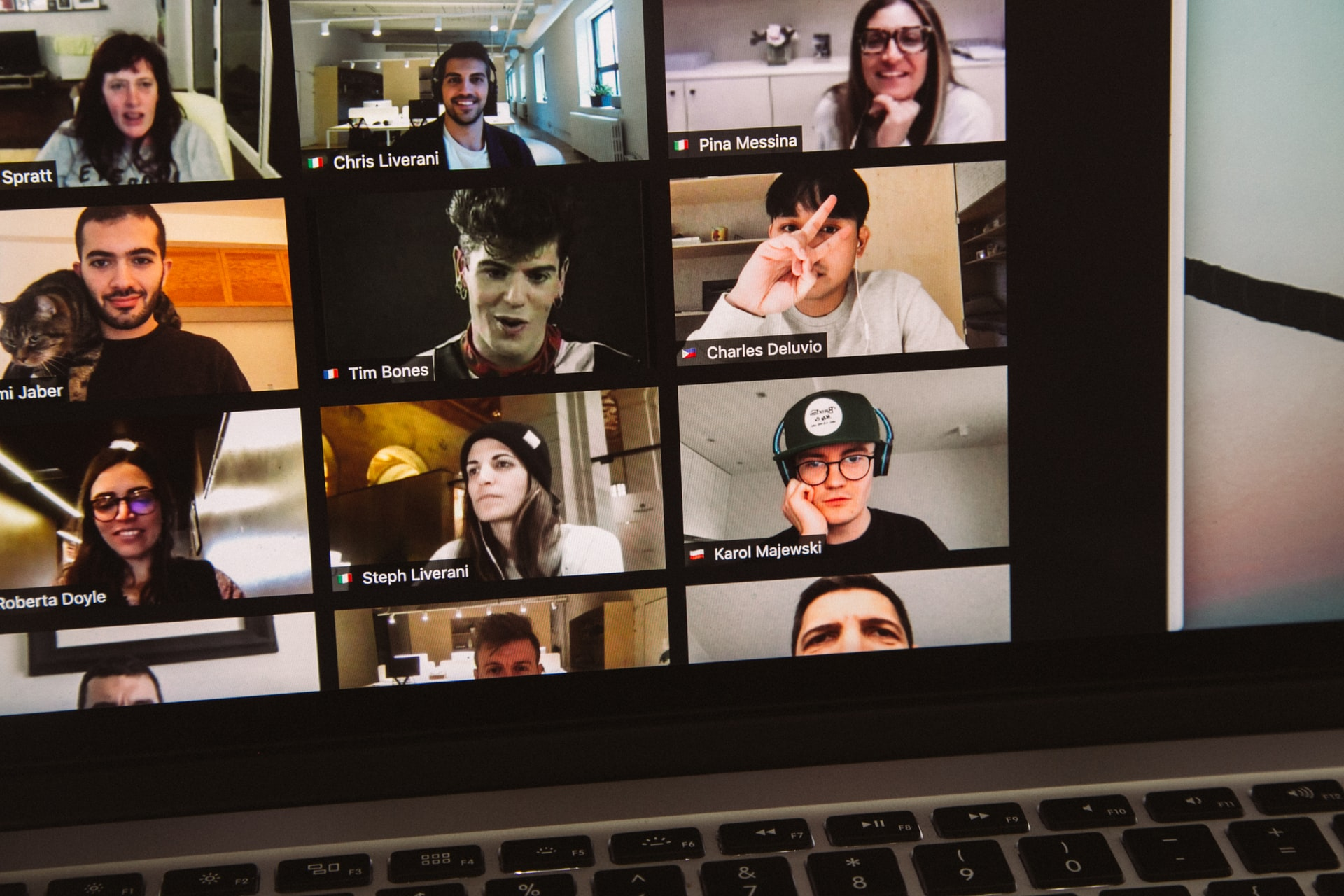 workers on a video call